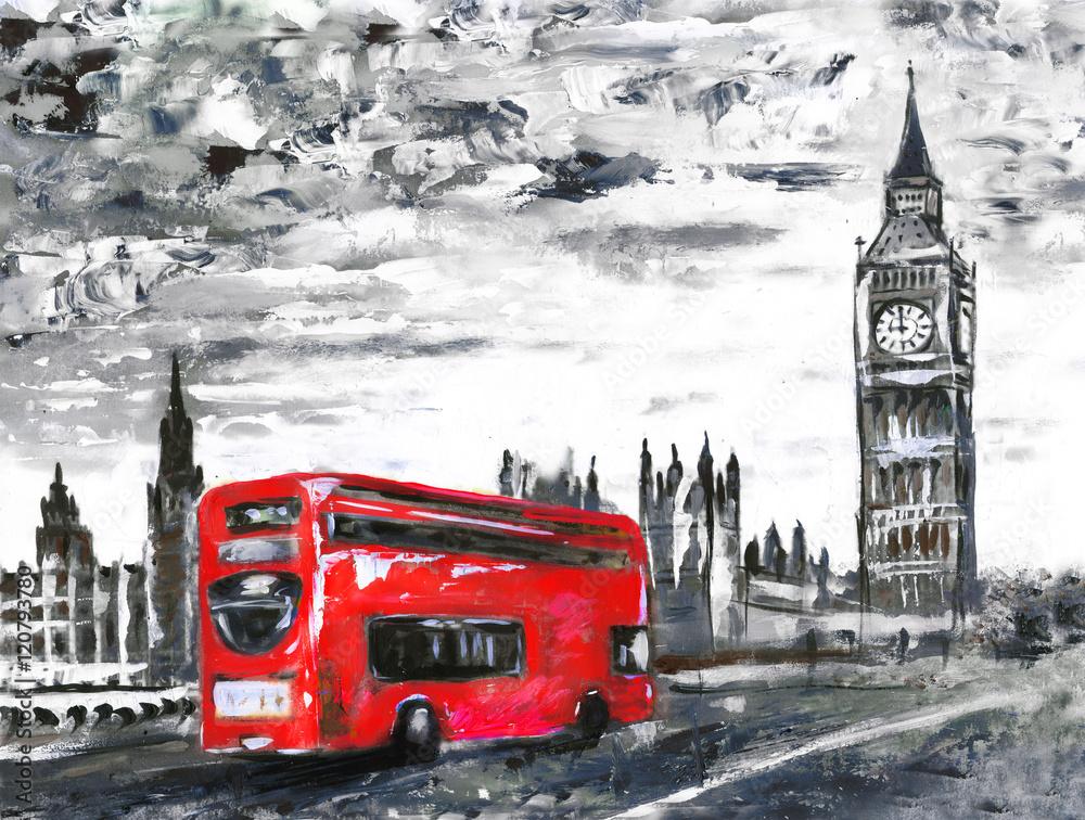 obraz olejny na płótnie, widok na ulicę Londynu, autobus na drodze. Grafika. Big Ben. <span>plik: #120793780   autor: lisima</span>