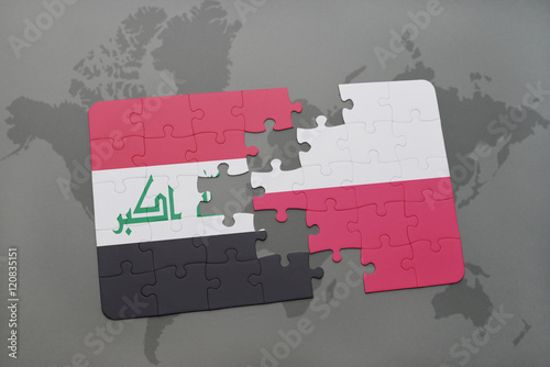 puzzle with the national flag of iraq and poland on a world map background.