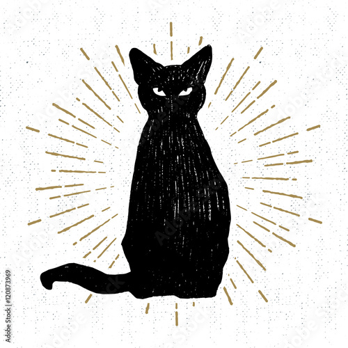 Carta da parati Hand drawn Halloween icon with a textured black cat vector illustration