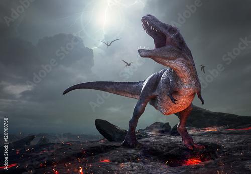Leinwand Poster Wiedergabe 3D von Tyrannosaurus Rex nahe Löschung.