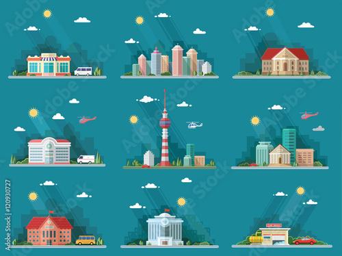Obraz na płótnie Mega Set of icons for your design. School, Town Hall, the univer