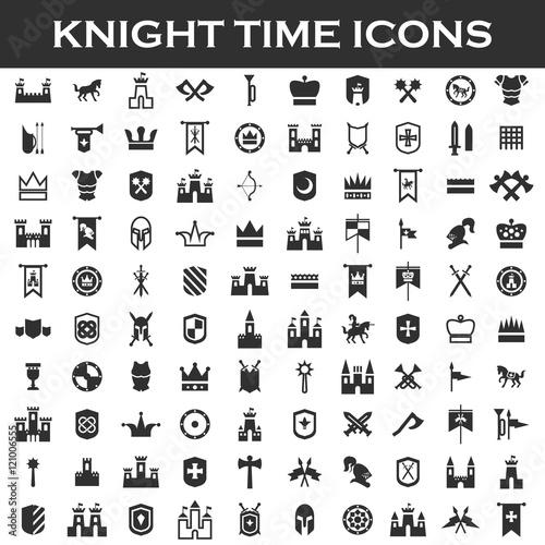 Carta da parati chivalry set icons