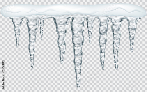Hanging icicles with snow on transparent background Fototapeta