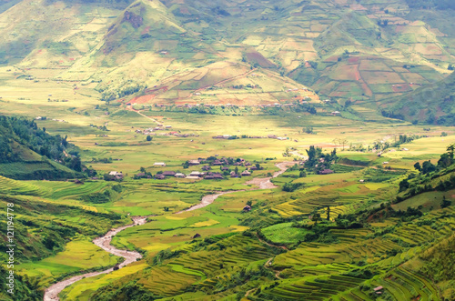 Rice field in valley in Bac Son, Lang Son, Vietnam