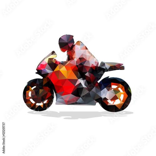 Obraz premium Motocykl, abstrakcyjna geometryczna sylwetka wektor. Jazda motocyklem