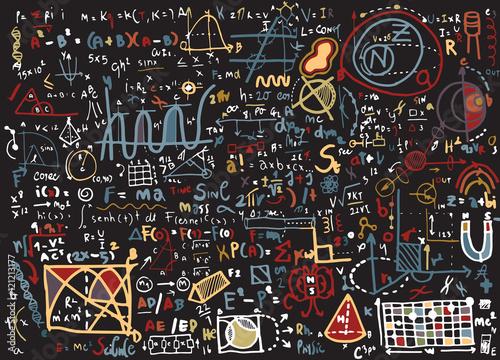 Photo Physical formulas and phenomenons. hand-drawn illustration. scie