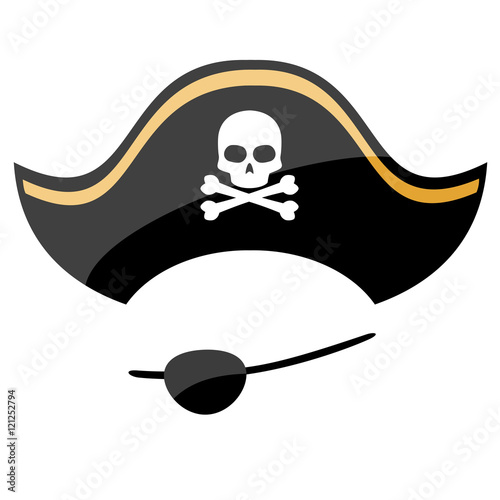 Obraz na plátne Pirate hat with eye patch isolated on white background
