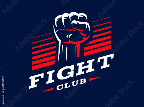 Fototapeta fist emblem illustration on dark background