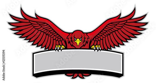 Fotografia eagle mascot grip the sign