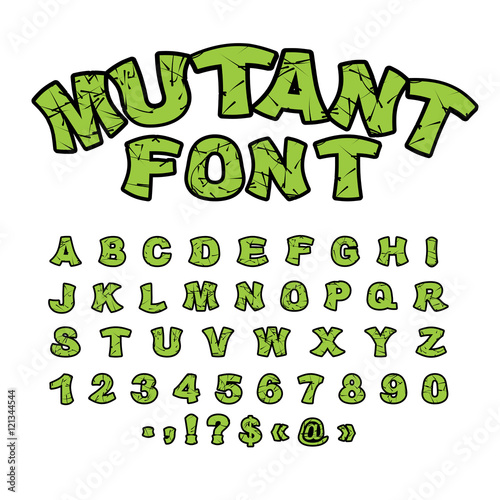 Photo Mutant font. Green rough comic alphabet in style. Abstract ABC.