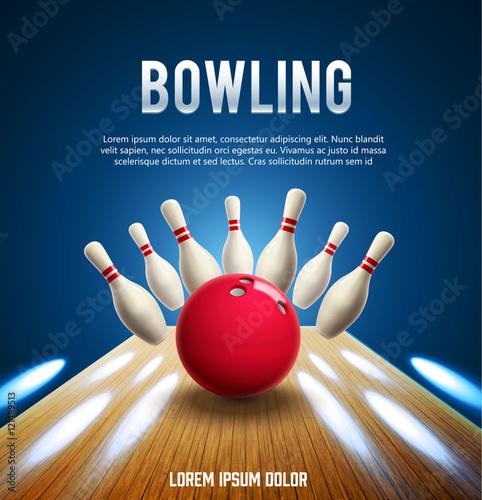 Leinwand Poster bowling realistic theme eps 10