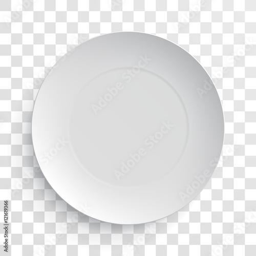 Obraz na plátně Empty white dish plate isolated 3d mockup model