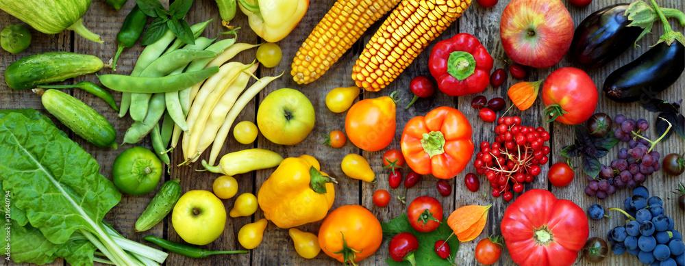 zielone, czerwone, żółte, fioletowe warzywa i owoce <span>plik: #121640794   autor: Oksana_S</span>
