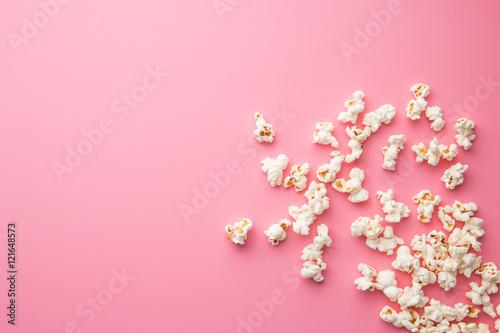 popcorn on pink background