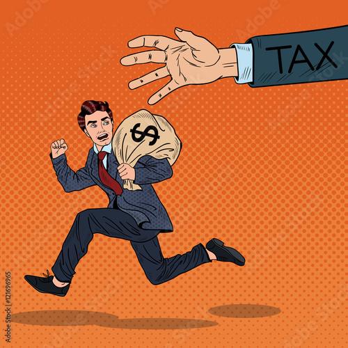 Obraz na płótnie Pop Art biznesmen ucieka podatki z worka pieniędzy