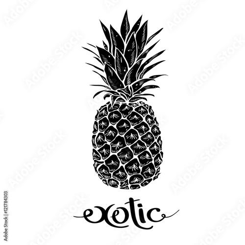 Wizerunek czarny i biały ananasowy owocowy literowanie egzot na tle Fototapeta