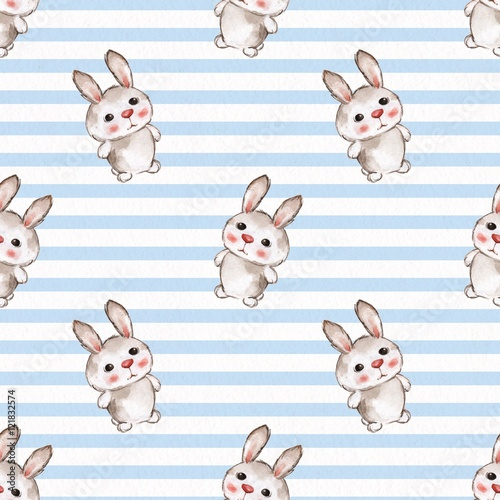 Background with rabbits. Seamless pattern with cartoon animals. Watercolor painting 12