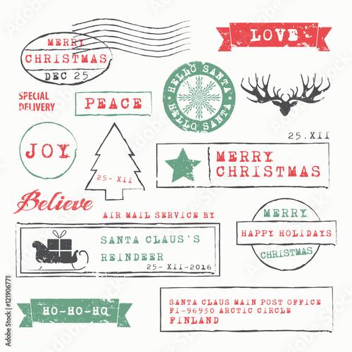 Christmas Stamps Collection Fototapeta
