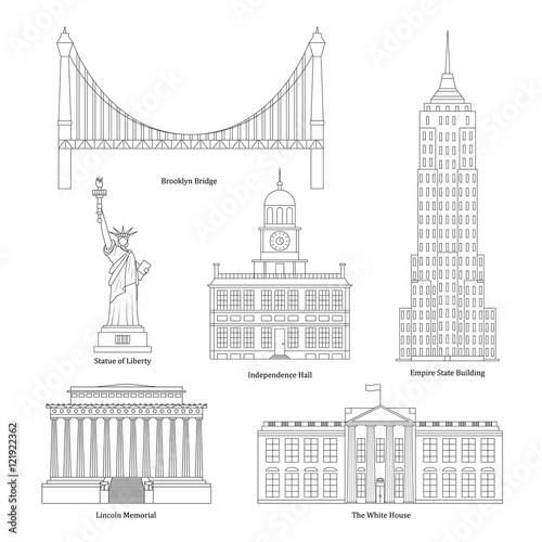 America Thin Line Art. Vector Fototapeta
