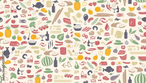 Jednolite wzór żywności wykonane z małych ilustracji.