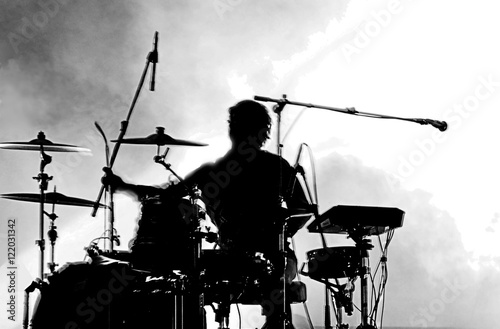 Billede på lærred Drummer in silhouette