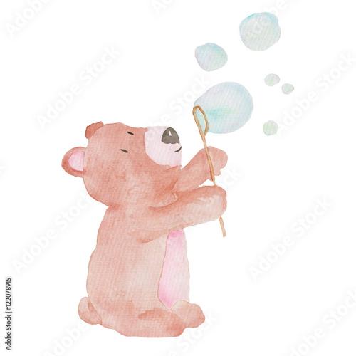 Fototapeta premium Niedźwiadkowa Śliczna Zwierzęca akwarela ilustracja Gulgocze Wodnych dzieciaków dziecka Ręcznie malowanych zwierzęta Odizolowywających