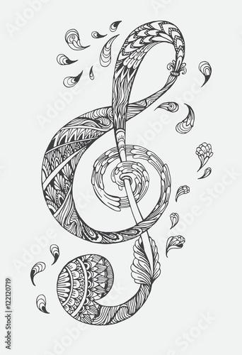 Obraz premium Ręcznie rysowane klucz muzyczny z etniczne ozdoby doodle wzór. Ilustracja wektorowa Henna Mandala Zentangle stylizowana na okładkę lub kartę, tatuaż więcej. Projekt dla duchowego relaksu dla dorosłych.