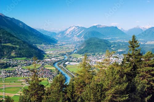 Fototapeta Panoramic bird's eye view of the cities Rietz, Telfs, Pfaffenhofen and the river Inn in Tyrol, Austria (Europe)