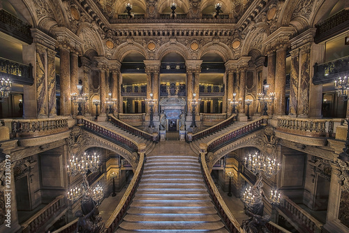 Obraz na plátně Stairway inside the Opera house Palais Garnier