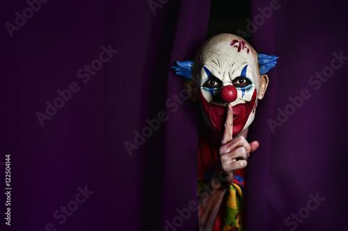 Fényképezés scary evil clown asking for silence