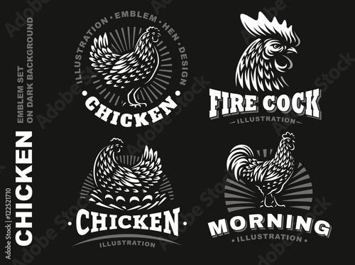 Canvastavla Set chicken emblem on dark background