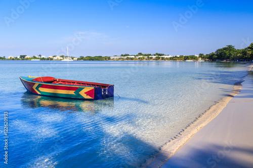 Canvas Print Jamaican Boat on Bloody Bay Beach, Jamaica.