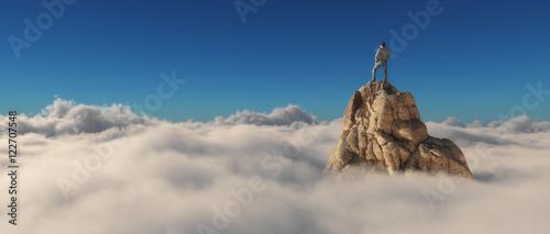 Fotografía A man standing on a stone cliff
