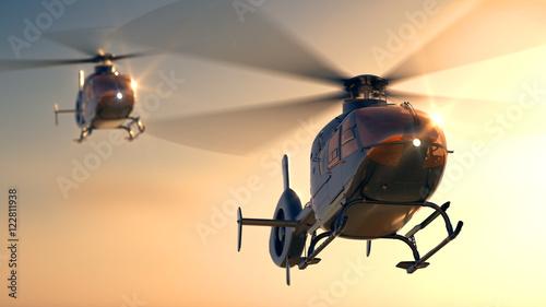 Fotografie, Obraz Helicopters Sunset Flight