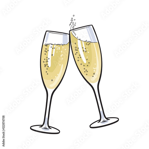 Pair of champagne glasses, set of sketch style vector illustration isolated on white background Tapéta, Fotótapéta