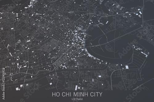 Obraz na płótnie Cartina di Ho Chi Minh City, vista satellitare, città, Vietnam