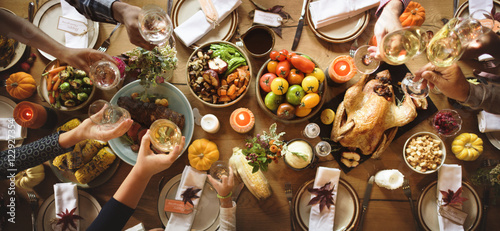 Fotografia, Obraz People Cheers Celebrating Thanksgiving Holiday Concept