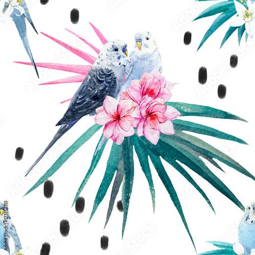 Fototapeta Kolorowe papugi i tropikalne rośliny akwarela na białym tle do pokoju