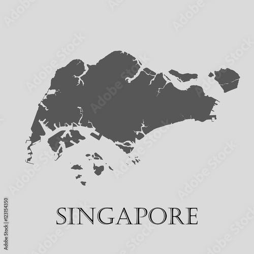 Canvas Print Gray Singapore map - vector illustration