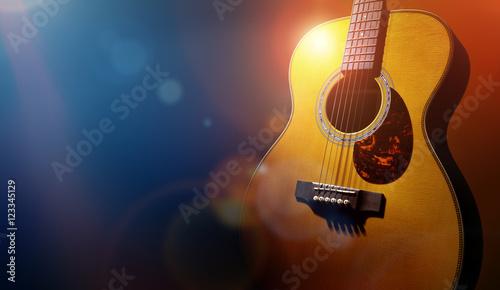 Fotografia Guitar and blank grunge stage background