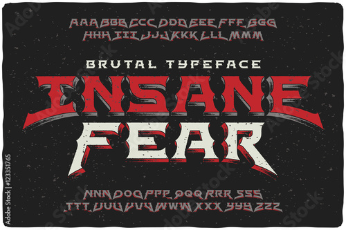 Fotografia Insane Fear brutal font with textured extrude effect