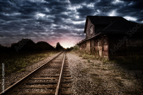 Empty and abandoned train station at night