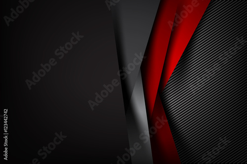 Leinwand Poster Abstract background dark with carbon fiber texture vector illust