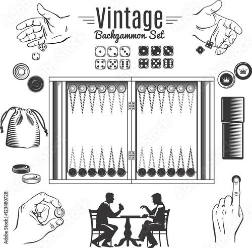Obraz na plátne Backgammon Vintage Style Elements Set