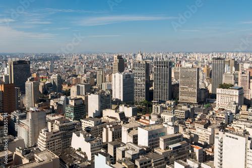 Sao Paulo City Skyline - View of Buildings in Anhangabau Valley