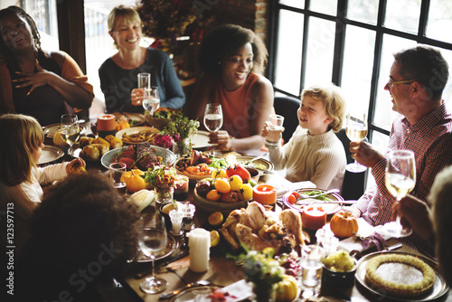 Obraz na plátne People Talking Celebrating Thanksgiving Holiday Concept