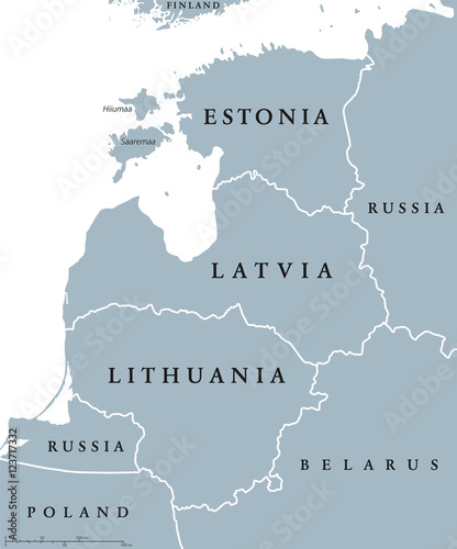 Fotografia Baltic countries political map, also known as Baltics, Baltic nations or states