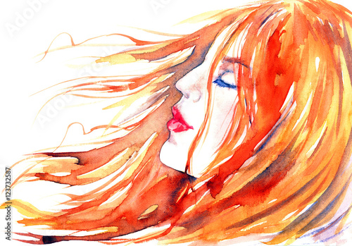 Red-haired beautiful girl dreams in the wind, hand painted watercolor fashion illustration