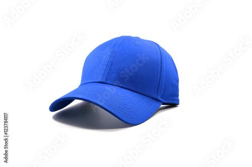 Fotografie, Obraz Closeup of the fashion blue cap isolated on white background.