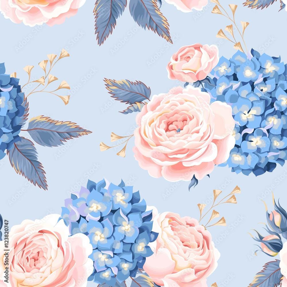 Fototapeta Bezszwowa róża i hortensja